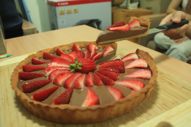 Almond-meal tart with chocolate mousse and strawberries