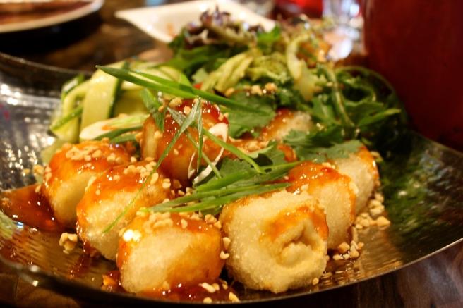 Deep-fried organic tofu with homemade sweet chilli sauce