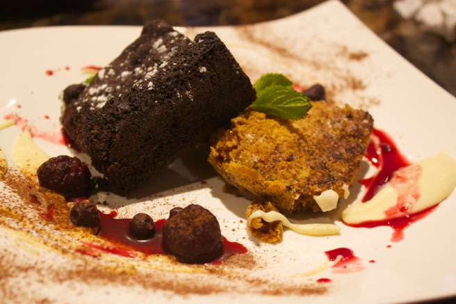 Dark chocolate and white chocolate brownie with homemade berry compote and butterscotch cream